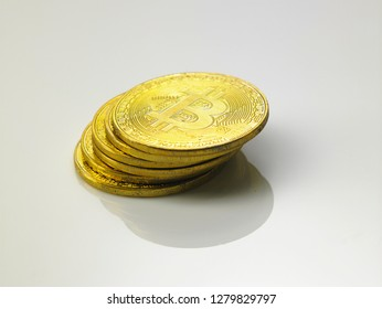 stack of bitcoin on the white background