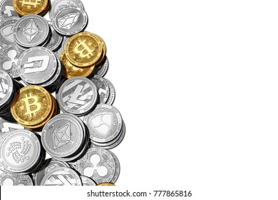 Stack of Bitcoin and other cryptocurrencies isolated on white background with copy space on the right side. 3D rendering