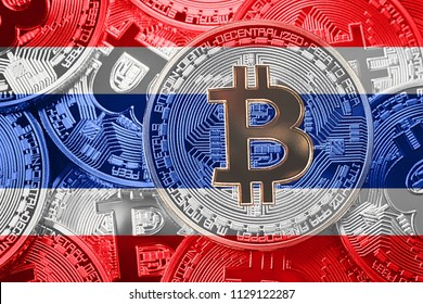 Stack of Bitcoin Thailand flag. Bitcoin cryptocurrencies concept. BTC background.