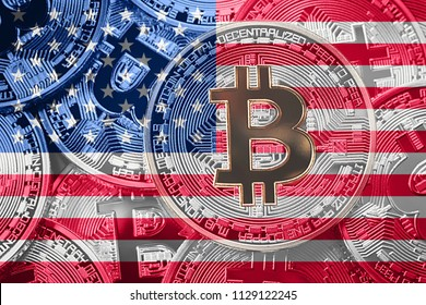Stack of Bitcoin USA flag. Bitcoin cryptocurrencies concept. BTC background.