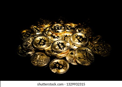 stack of bitcoins on black background