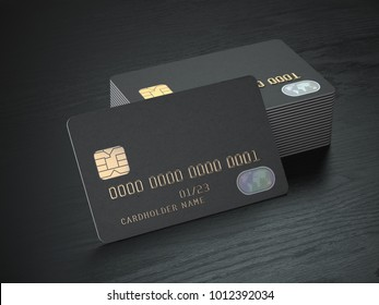 Stack of black blank credit cards mockup on black wood table background. 3d illustration