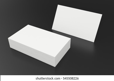 Stack of blank business card on black background. 3d rendering