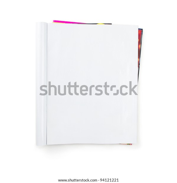 Stack of blank magazines isolated on white background with clipping path