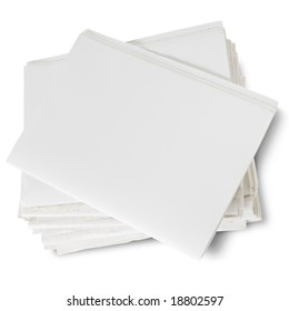 stack of blank newspapers on white