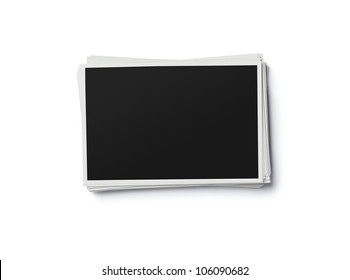 Stack of blank photo frames isolated on white background with clipping path for the inside