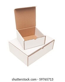 Stack of Blank White Cardboard Postal Boxes, Top Opened, Isolated on a White Background.