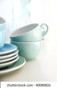 A stack of blue cups