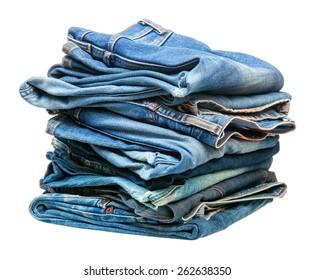 stack of blue denim clothes
