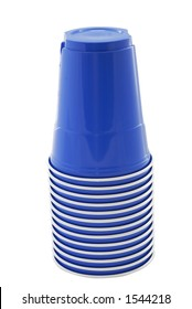 Stack of blue plastic cups for a summer picnic