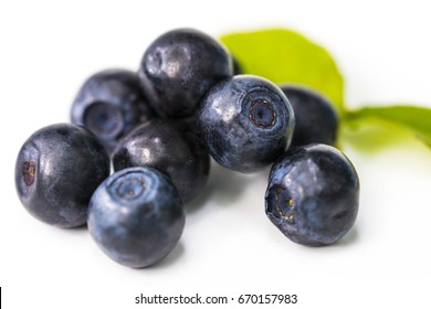 Stack of blueberries isolated on white with clipping path.