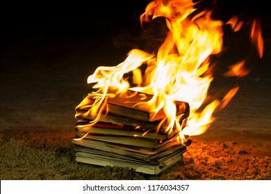 Stack of books burning