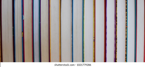 Stack of books. Education, knowledge, learn, study and wisdom concept. Horizontal layout of childrens books. Front of books with colorful covers.