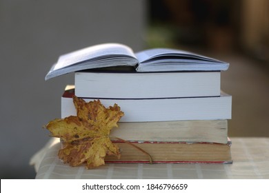 Stack of books and fallen autumn leaf. Selective focus.