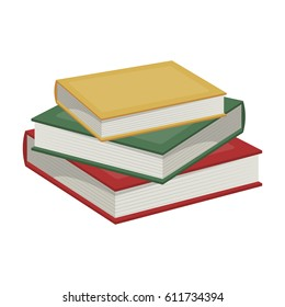 Stack of books icon in cartoon style isolated on white background. Library and bookstore symbol stock bitmap illustration.