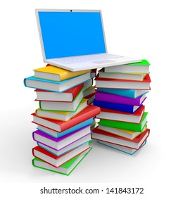 Stack of books and laptop on white background. 3D illustration.