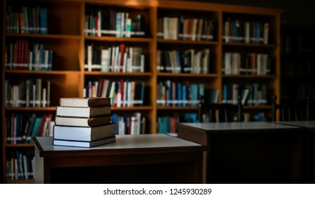 Stack of books in the library