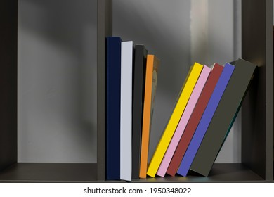 Stack of books in library.