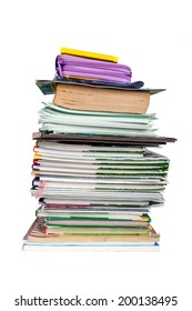Stack of books and notebooks schoolboy