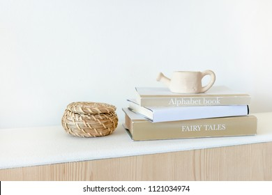 A stack of books on a shelf