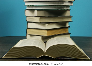 A stack of books on the table