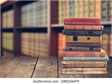Stack of books on tablet