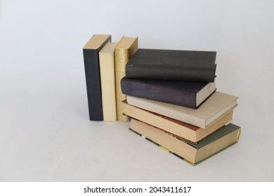 Stack of books on whie background