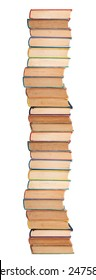 Stack of books on white.