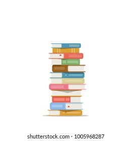 Stack of books on a white background. Pile of books isolated. Icon of books in flat style. Raster copy.