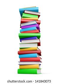 Stack of books on white background. 3D illustration.