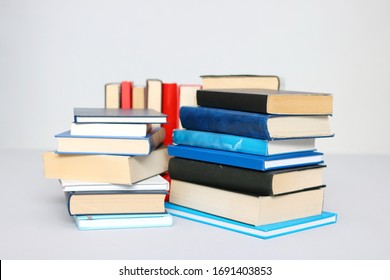 Stack of books on white background_