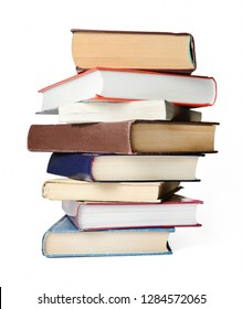 A stack of books on a white isolated background.