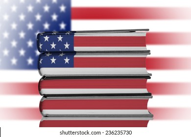 Stack of Books over American Flag.American Education System Concept.
