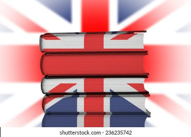Stack of Books over Union Jack Flag.British Education System Concept.