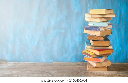 Stack of books, reading, learning, education concept, free copy space