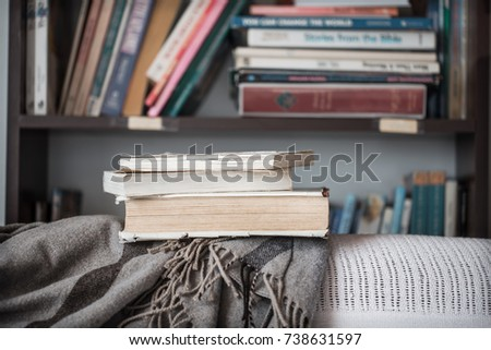 a stack of books rests on a cozy blanket on the couch in the background of the library ,the concept of reading and leisure activities