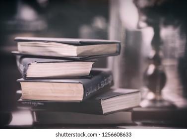 Stack of books -retro style image