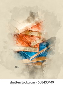 Stack of books. Watercolor background.