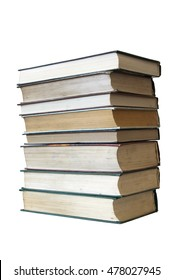 Stack of books. White background, isolation