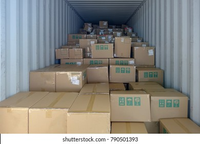 Stack of boxes in the logistics container