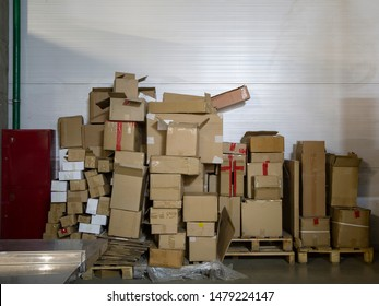Stack of boxes in the logistics office