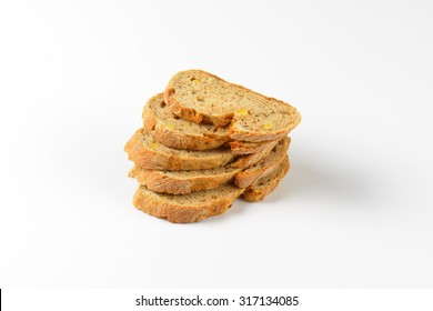 stack of bread slices on white background