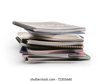 stack of brochures on a white background