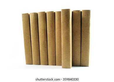 Stack of brown books isolated on white background , Selective soft focus