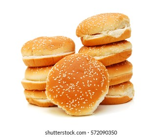 stack buns with sesame seeds on a white background