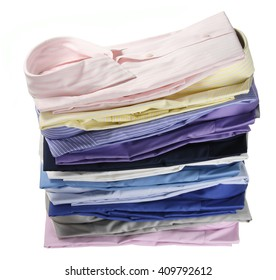 Stack of Business Shirts on White Background