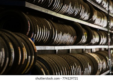 Stack of car tires.