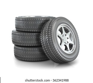 stack of car wheels isolated on white