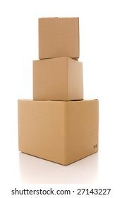a stack of cardboard box parcels (isolated on white)