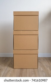 stack of cardboard boxes or carton boxes with lid